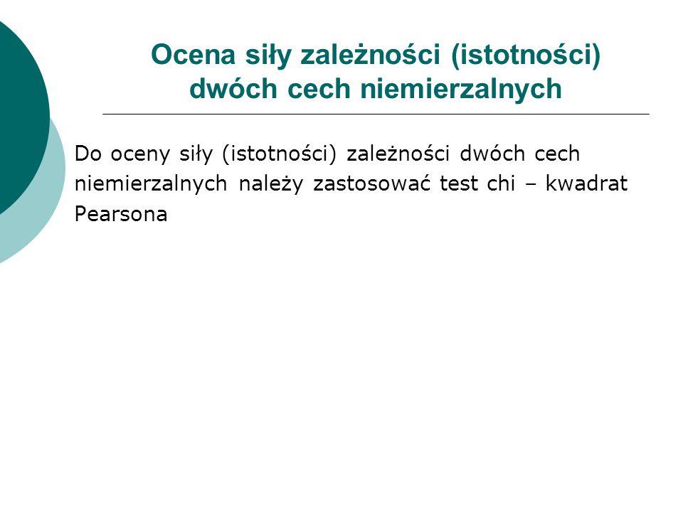 Ocena siły zależności (istotności) dwóch cech niemierzalnych Do oceny siły (istotności) zależności dwóch cech niemierzalnych należy zastosować test ch
