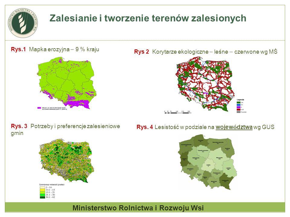 Zalesianie i tworzenie terenów zalesionych Ministerstwo Rolnictwa i Rozwoju Wsi Rys.1 Mapka erozyjna – 9 % kraju Rys 2 Korytarze ekologiczne – leśne –