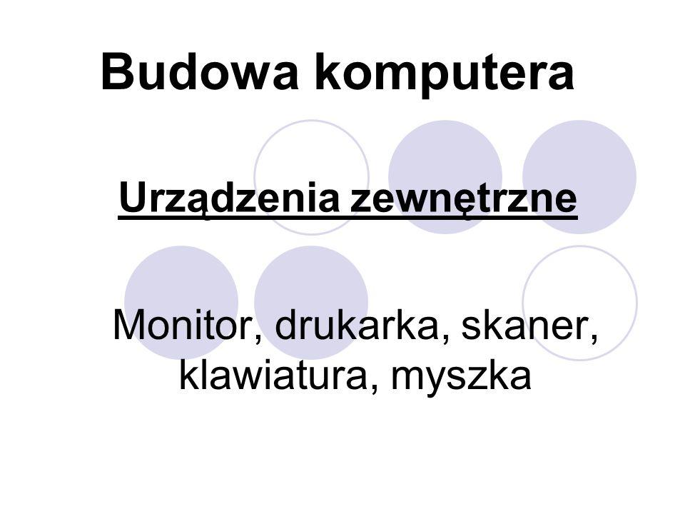 Urządzenia zewnętrzne Monitor, drukarka, skaner, klawiatura, myszka Budowa komputera