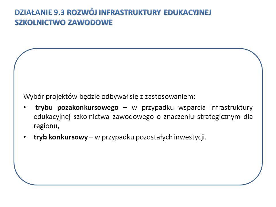 Wybór projektów będzie odbywał się z zastosowaniem: trybu pozakonkursowego – w przypadku wsparcia infrastruktury edukacyjnej szkolnictwa zawodowego o znaczeniu strategicznym dla regionu, tryb konkursowy – w przypadku pozostałych inwestycji.