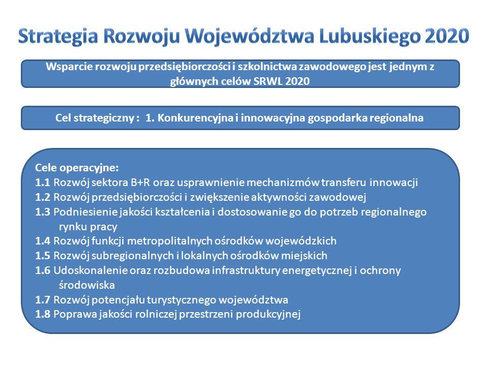 Regionalny Program Operacyjny – Lubuskie 2020: realizuje cele strategii Europa 2020, realizuje postanowienia Umowy Partnerstwa, odpowiada na korespondujące z nimi wyzwania stawiane w Strategii Rozwoju Województwa Lubuskiego 2020.