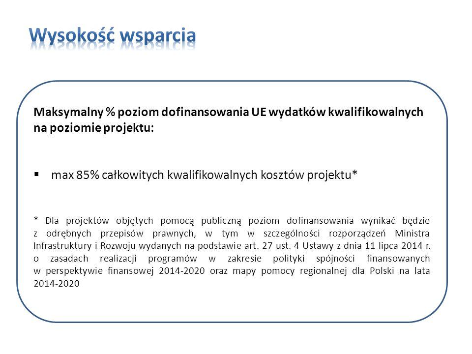 Maksymalny % poziom dofinansowania UE wydatków kwalifikowalnych na poziomie projektu:  max 85% całkowitych kwalifikowalnych kosztów projektu* * Dla projektów objętych pomocą publiczną poziom dofinansowania wynikać będzie z odrębnych przepisów prawnych, w tym w szczególności rozporządzeń Ministra Infrastruktury i Rozwoju wydanych na podstawie art.