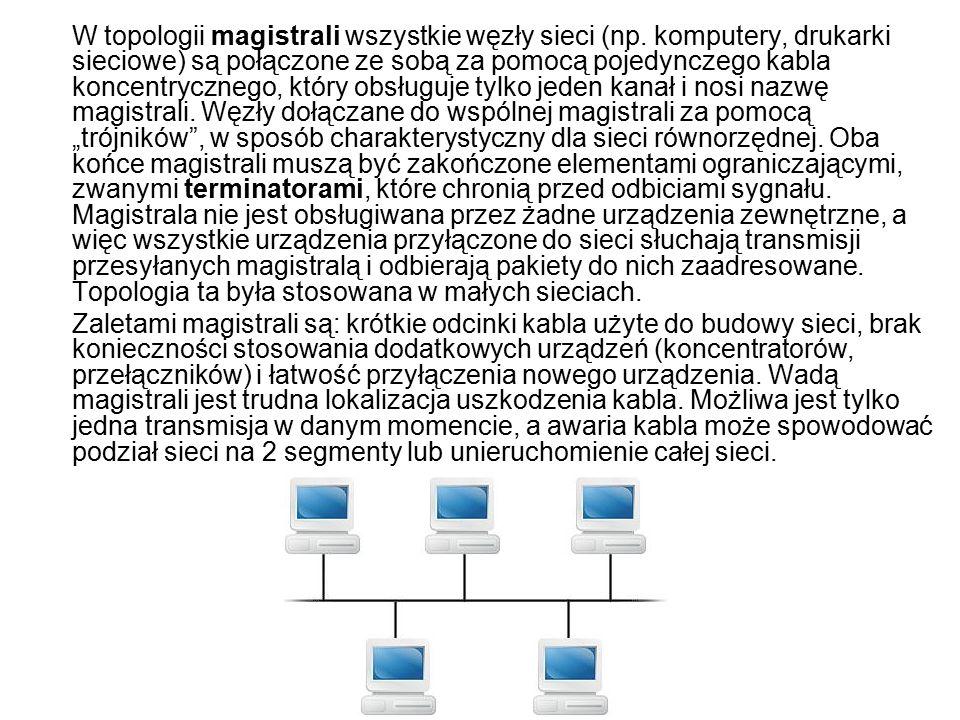 W topologii magistrali wszystkie węzły sieci (np.