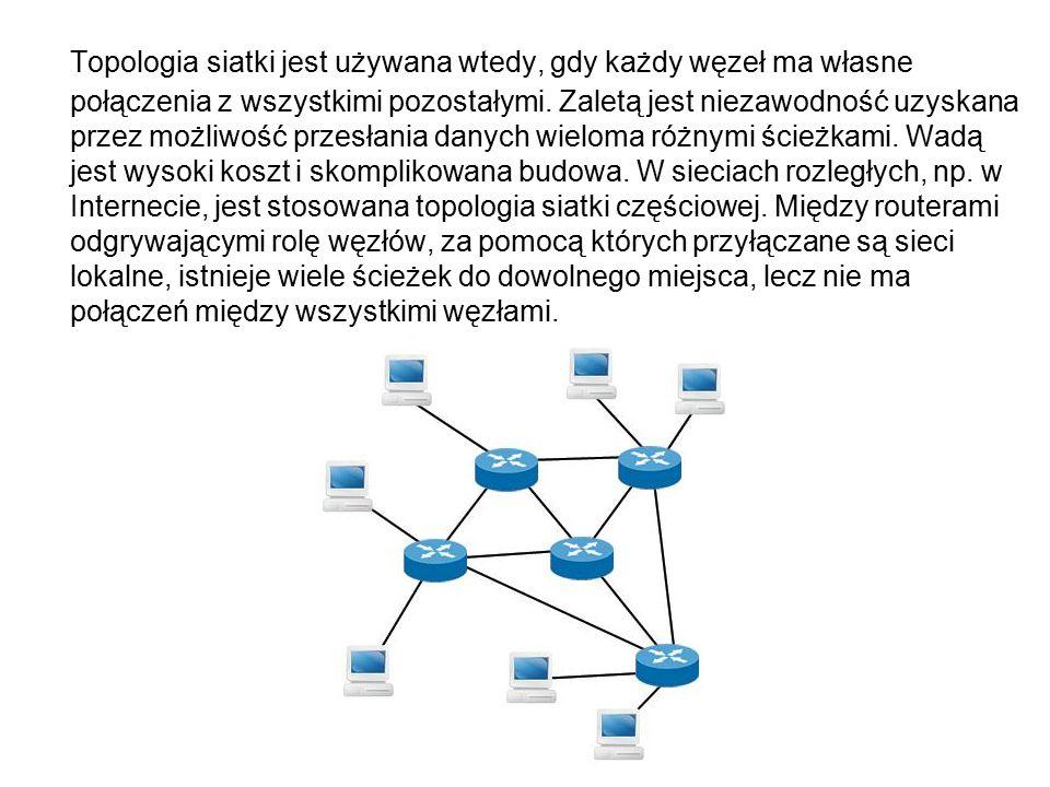 Topologia siatki jest używana wtedy, gdy każdy węzeł ma własne połączenia z wszystkimi pozostałymi.