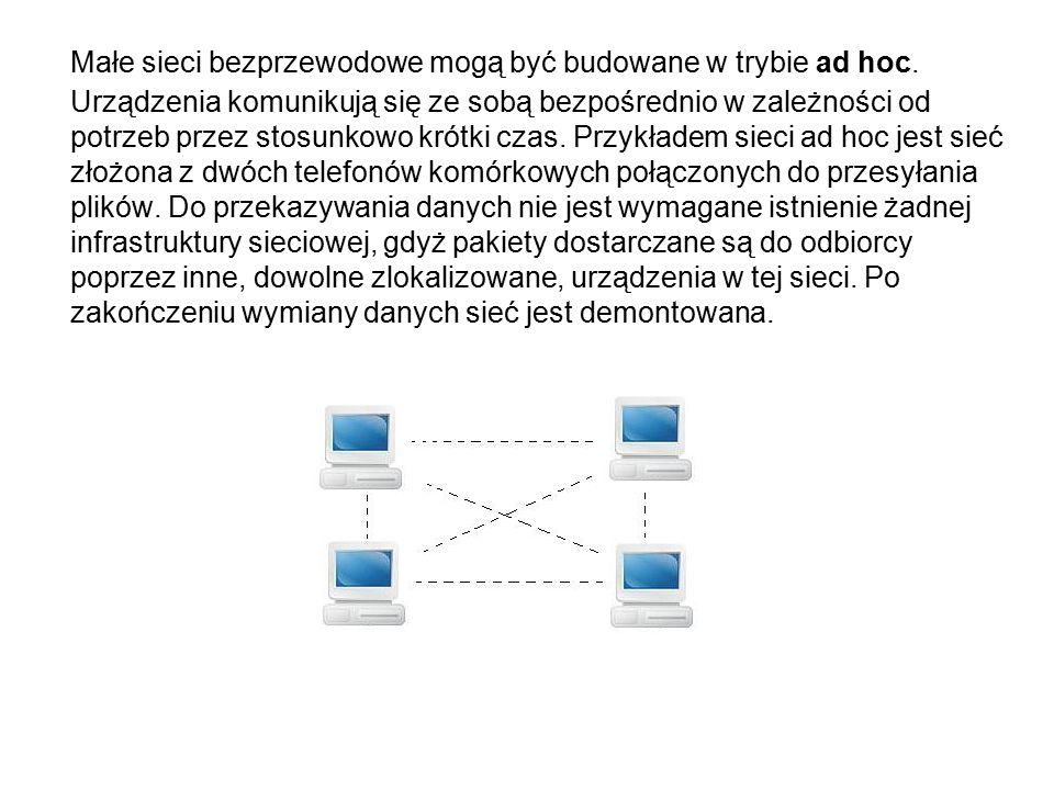 Małe sieci bezprzewodowe mogą być budowane w trybie ad hoc.