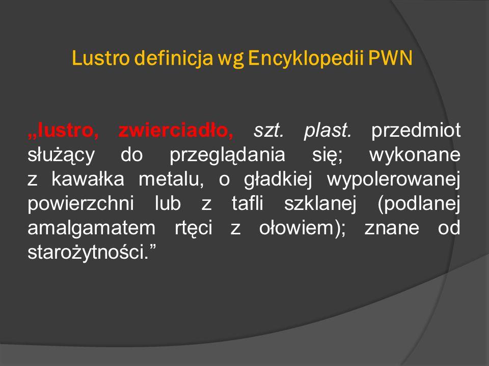 """Lustro definicja wg Encyklopedii PWN """"lustro, zwierciadło, szt."""