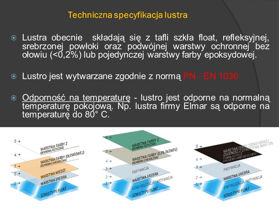  Lustra obecnie składają się z tafli szkła float, refleksyjnej, srebrzonej powłoki oraz podwójnej warstwy ochronnej bez ołowiu (<0,2%) lub pojedynczej warstwy farby epoksydowej.
