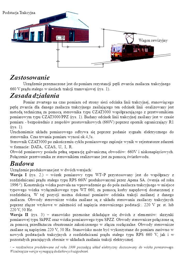 Zastosowanie Urządzenie przeznaczone jest do pomiaru rezystancji pętli zwarcia zasilacza trakcyjnego 660 V prądu stałego w sieciach trakcji tramwajowe