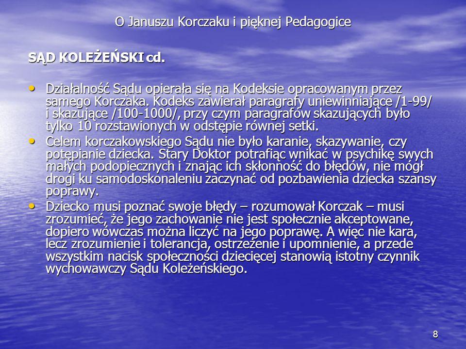 8 O Januszu Korczaku i pięknej Pedagogice SĄD KOLEŻEŃSKI cd. Działalność Sądu opierała się na Kodeksie opracowanym przez samego Korczaka. Kodeks zawie