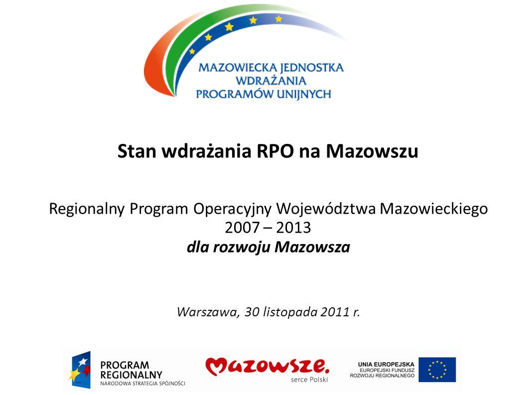Stan wdrażania RPO na Mazowszu Regionalny Program Operacyjny Województwa Mazowieckiego 2007 – 2013 dla rozwoju Mazowsza Warszawa, 30 listopada 2011 r.