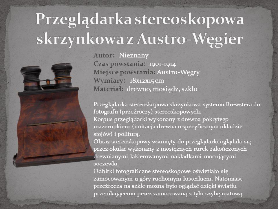 Autor: firma R. A. Goldmann Czas powstania:1890-1900 Miejsce powstania: Wiedeń, Austro-Węgry Wymiary: 123x73x70 cm Materiał: drewno, mosiądz, skóra, s