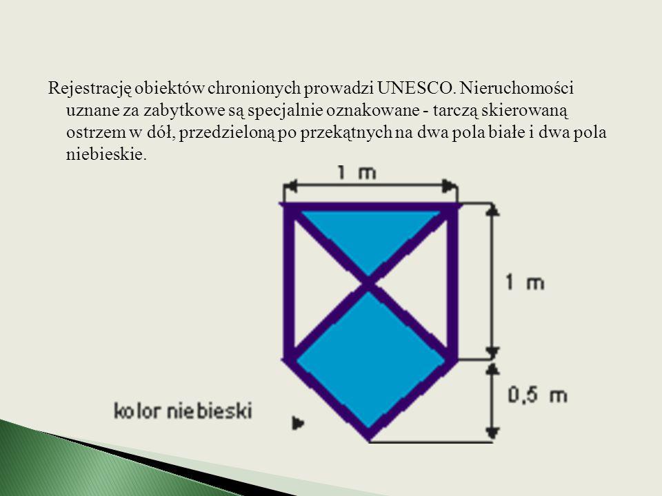 Rejestrację obiektów chronionych prowadzi UNESCO. Nieruchomości uznane za zabytkowe są specjalnie oznakowane - tarczą skierowaną ostrzem w dół, przedz