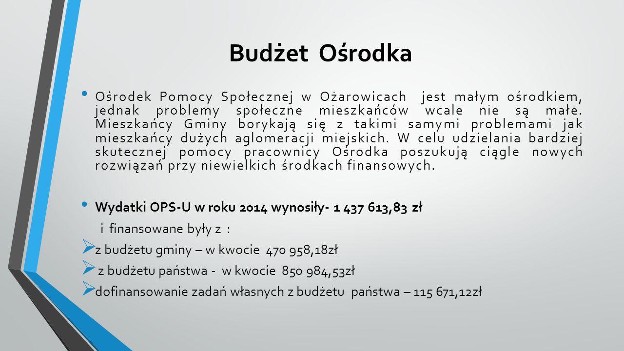 Budżet Ośrodka Ośrodek Pomocy Społecznej w Ożarowicach jest małym ośrodkiem, jednak problemy społeczne mieszkańców wcale nie są małe.