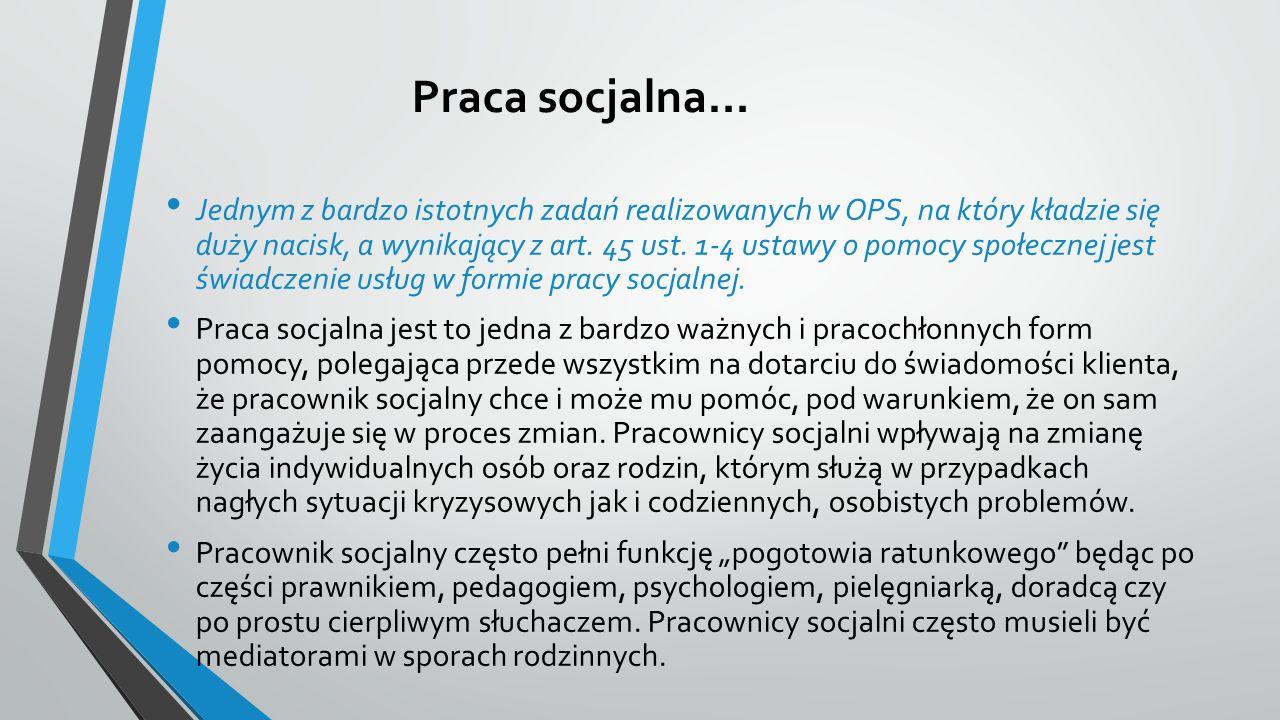 Praca socjalna… Jednym z bardzo istotnych zadań realizowanych w OPS, na który kładzie się duży nacisk, a wynikający z art. 45 ust. 1-4 ustawy o pomocy