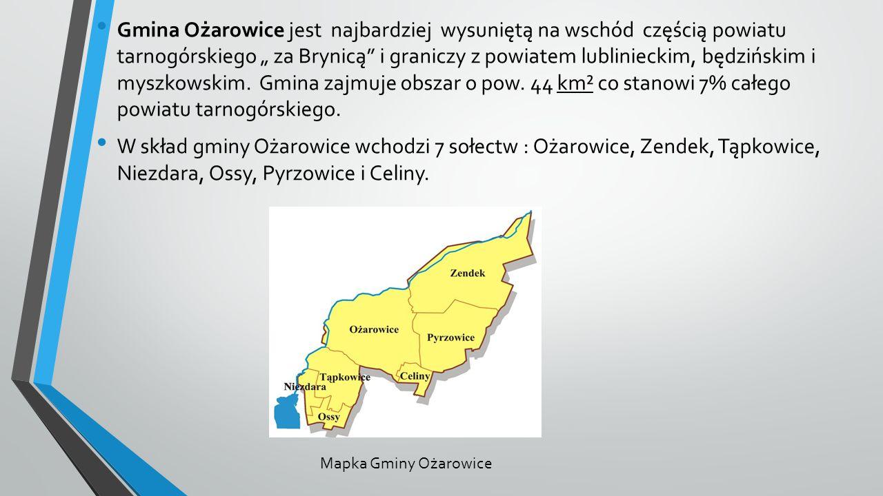"""Gmina Ożarowice jest najbardziej wysuniętą na wschód częścią powiatu tarnogórskiego """" za Brynicą i graniczy z powiatem lublinieckim, będzińskim i myszkowskim."""