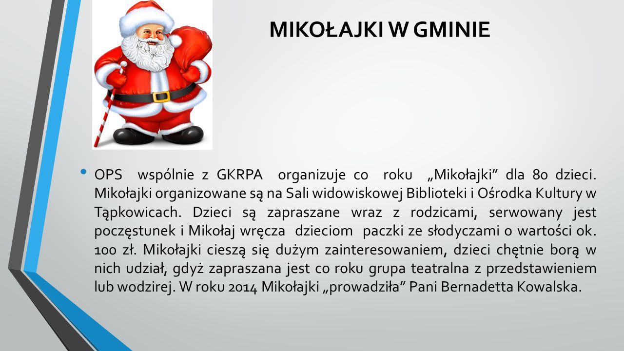 """MIKOŁAJKI W GMINIE OPS wspólnie z GKRPA organizuje co roku """"Mikołajki"""" dla 80 dzieci. Mikołajki organizowane są na Sali widowiskowej Biblioteki i Ośro"""