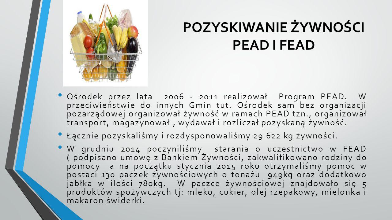 POZYSKIWANIE ŻYWNOŚCI PEAD I FEAD Ośrodek przez lata 2006 - 2011 realizował Program PEAD. W przeciwieństwie do innych Gmin tut. Ośrodek sam bez organi