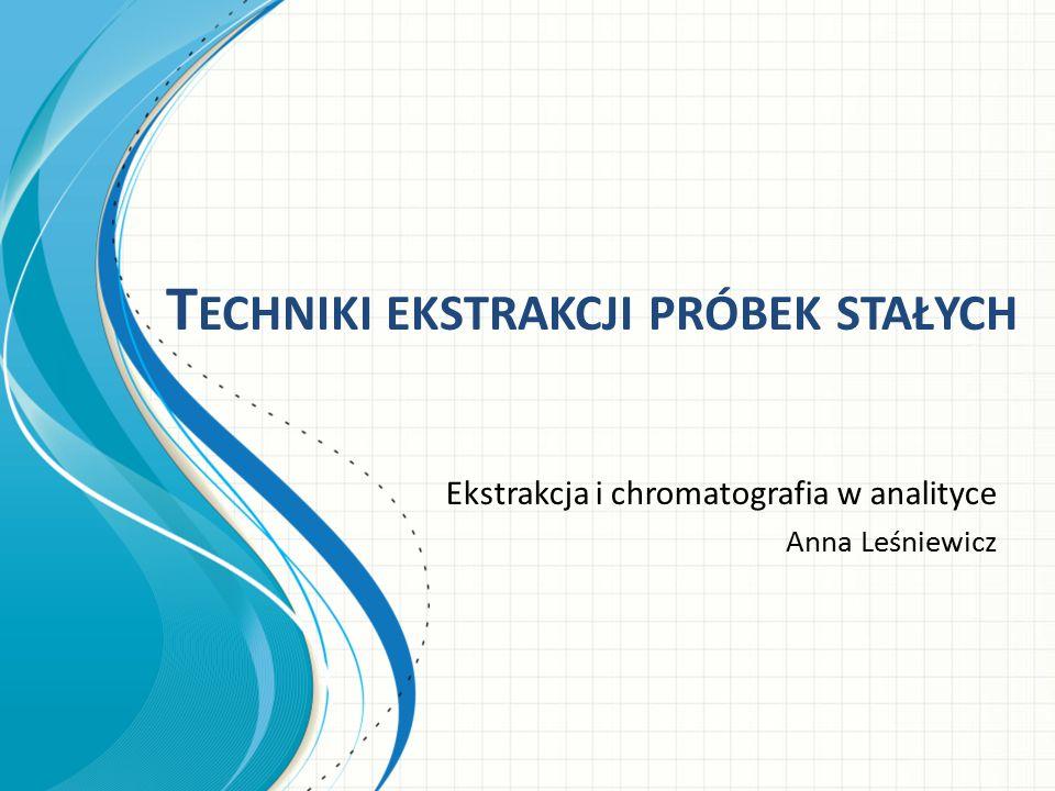 Ekstrakcja za pomocą rozpuszczalnika z próbki zmieszanej z wypełniaczem: jest to technika stosowana do oznaczania organicznych analitów, jak: leki, steroidy i inne pozostałości farmaceutyków, pestycydy, polichlorowane bifenyle (PCB) w próbkach stałych lub semi-stałych.