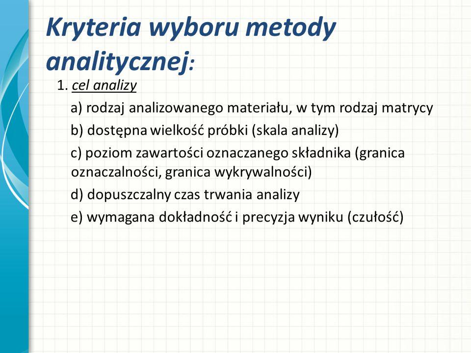 Kryteria wyboru metody analitycznej : 2.