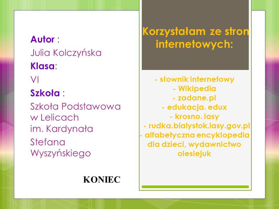Korzystałam ze stron internetowych: - słownik internetowy - Wikipedia - zadane.pl - edukacja. edux - krosno. lasy - rudka.bialystok.lasy.gov.pl - alfa
