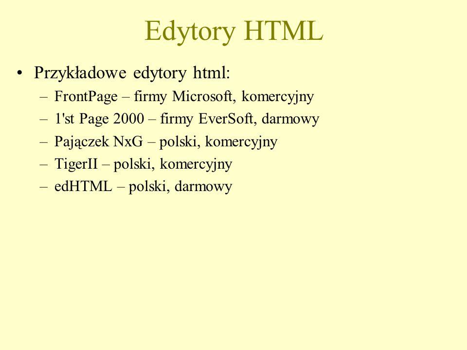 Edytory HTML Przykładowe edytory html: –FrontPage – firmy Microsoft, komercyjny –1'st Page 2000 – firmy EverSoft, darmowy –Pajączek NxG – polski, kome