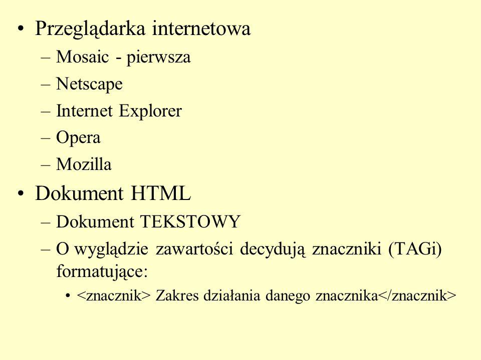 Przeglądarka internetowa –Mosaic - pierwsza –Netscape –Internet Explorer –Opera –Mozilla Dokument HTML –Dokument TEKSTOWY –O wyglądzie zawartości decy