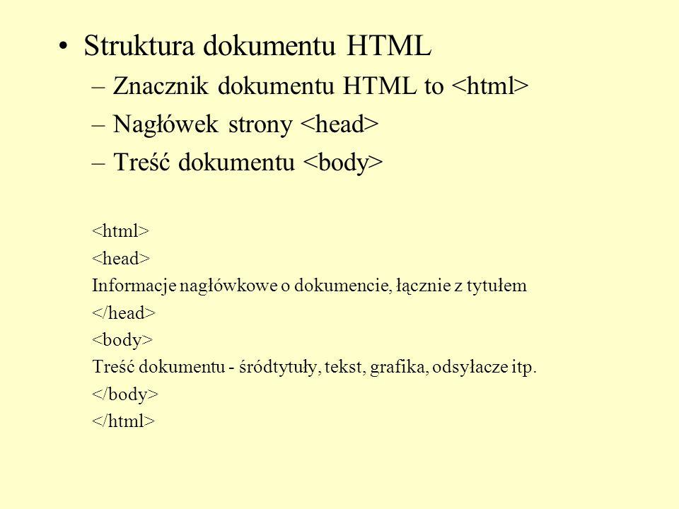 Struktura dokumentu HTML –Znacznik dokumentu HTML to –Nagłówek strony –Treść dokumentu Informacje nagłówkowe o dokumencie, łącznie z tytułem Treść dok
