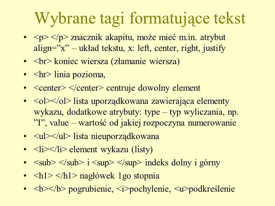 """Wybrane tagi formatujące tekst znacznik akapitu, może mieć m.in. atrybut align=""""x"""" – układ tekstu, x: left, center, right, justify koniec wiersza (zła"""