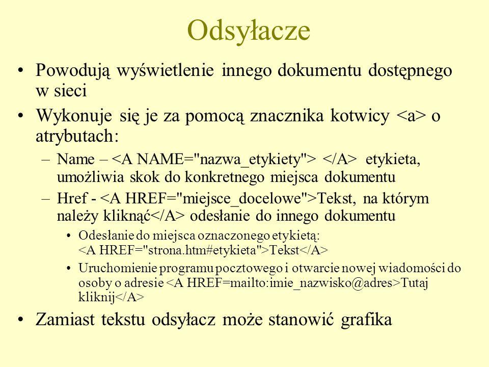 Edytory HTML Dowolny edytor tekstowy, np.