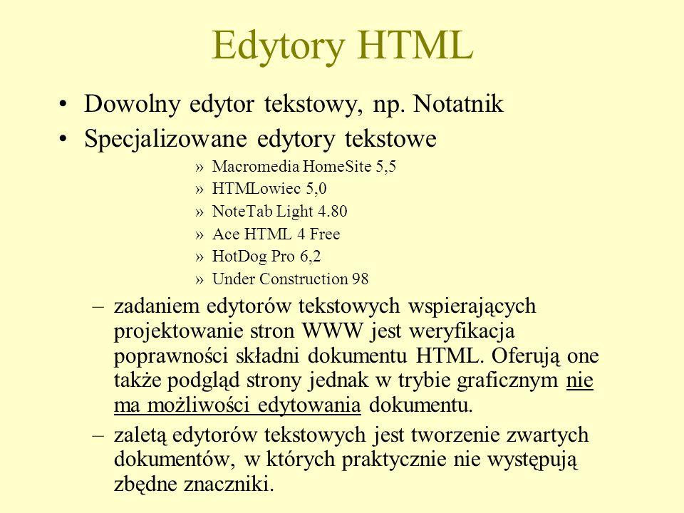 Edytory HTML Dowolny edytor tekstowy, np. Notatnik Specjalizowane edytory tekstowe »Macromedia HomeSite 5,5 »HTMLowiec 5,0 »NoteTab Light 4.80 »Ace HT