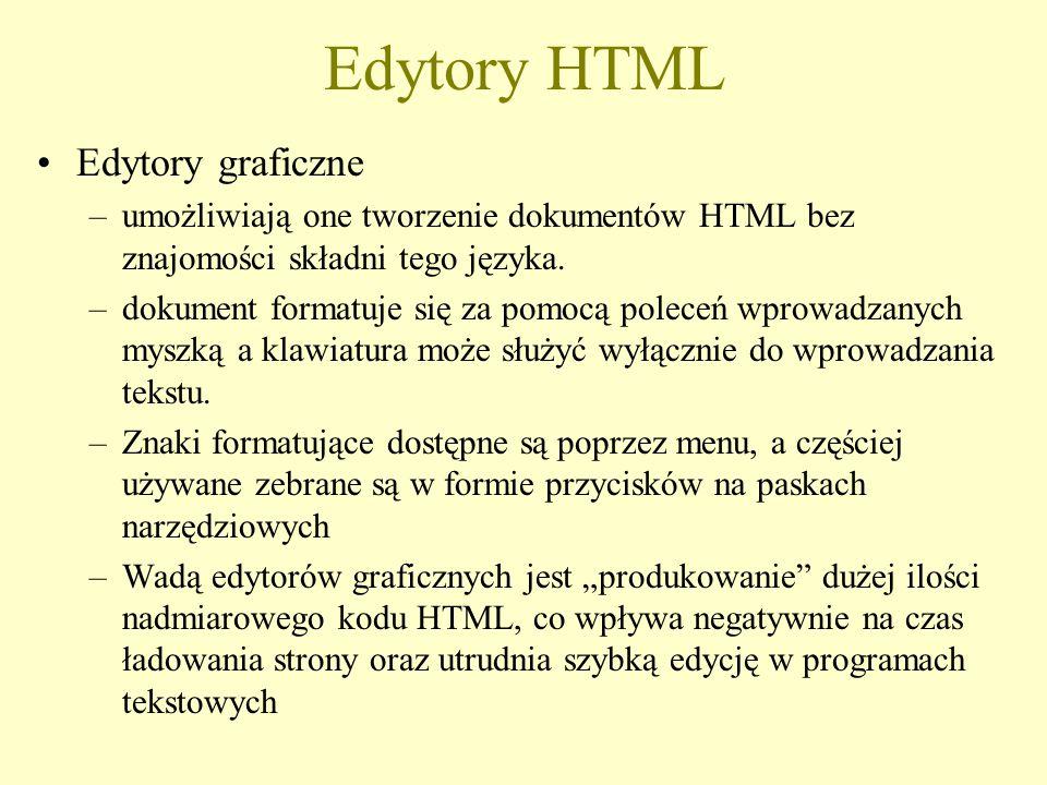 Edytory HTML Przykładowe edytory html: –FrontPage – firmy Microsoft, komercyjny –1 st Page 2000 – firmy EverSoft, darmowy –Pajączek NxG – polski, komercyjny –TigerII – polski, komercyjny –edHTML – polski, darmowy