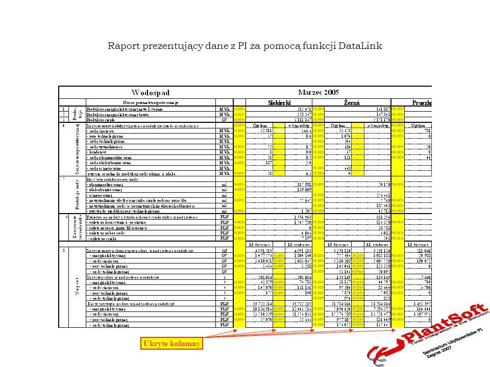 Raport prezentujący dane z PI za pomocą XPX