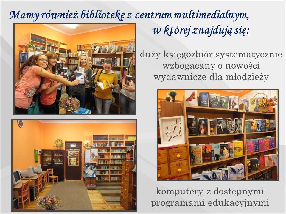 Mamy również bibliotekę z centrum multimedialnym, w której znajdują się: duży księgozbiór systematycznie wzbogacany o nowości wydawnicze dla młodzieży komputery z dostępnymi programami edukacyjnymi