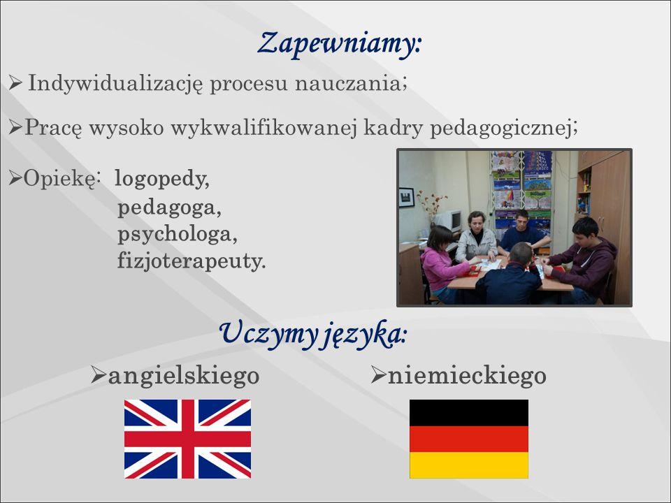 Zapewniamy:  Opiekę: logopedy, pedagoga, psychologa, fizjoterapeuty.