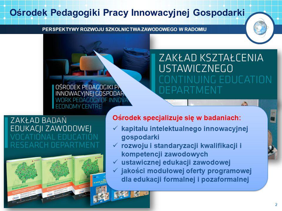 Ośrodek Pedagogiki Pracy Innowacyjnej Gospodarki Ośrodek specjalizuje się w badaniach: kapitału intelektualnego innowacyjnej gospodarki rozwoju i stan