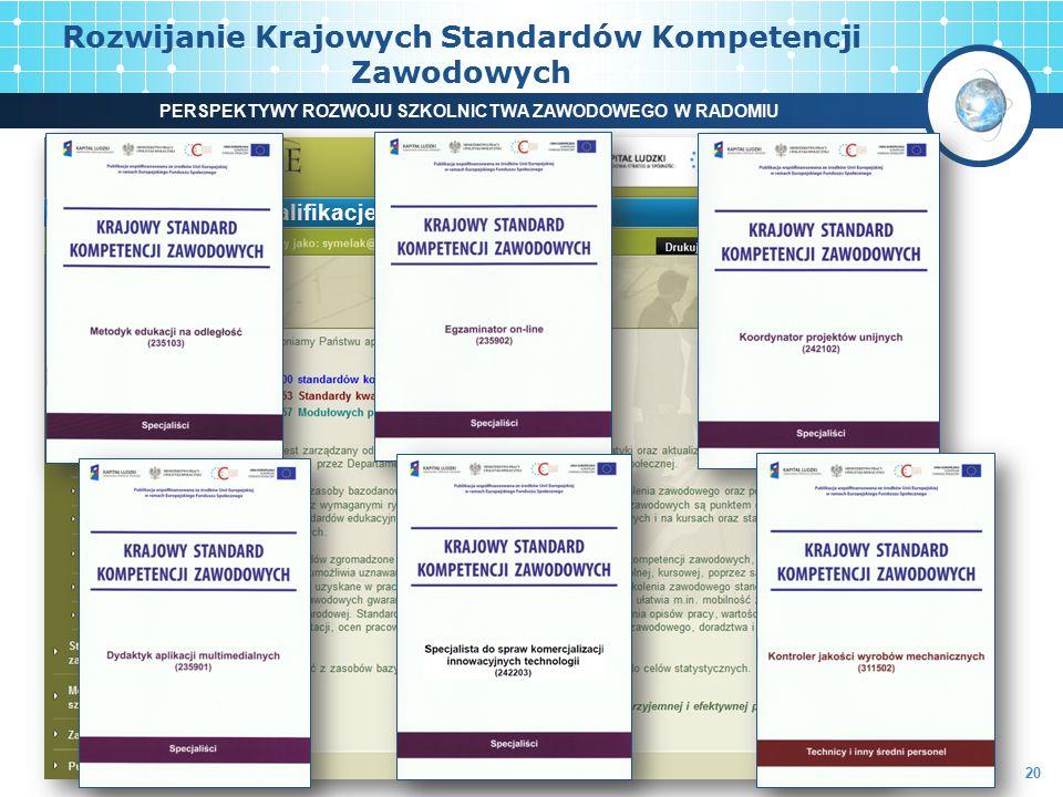 www.kwalifikacje.praca.gov.pl Rozwijanie Krajowych Standardów Kompetencji Zawodowych 20 PERSPEKTYWY ROZWOJU SZKOLNICTWA ZAWODOWEGO W RADOMIU