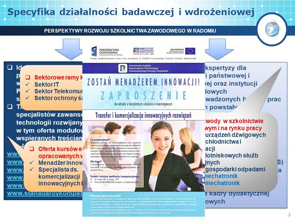 Specyfika działalności badawczej i wdrożeniowej  Identyfikacja nowych obszarów problemowych pedagogiki pracy w kontekście wdrażania Europejskiej i Po