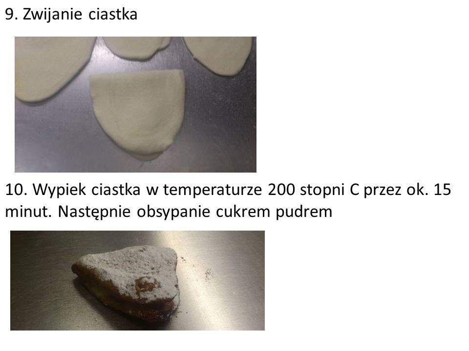 9. Zwijanie ciastka 10. Wypiek ciastka w temperaturze 200 stopni C przez ok. 15 minut. Następnie obsypanie cukrem pudrem