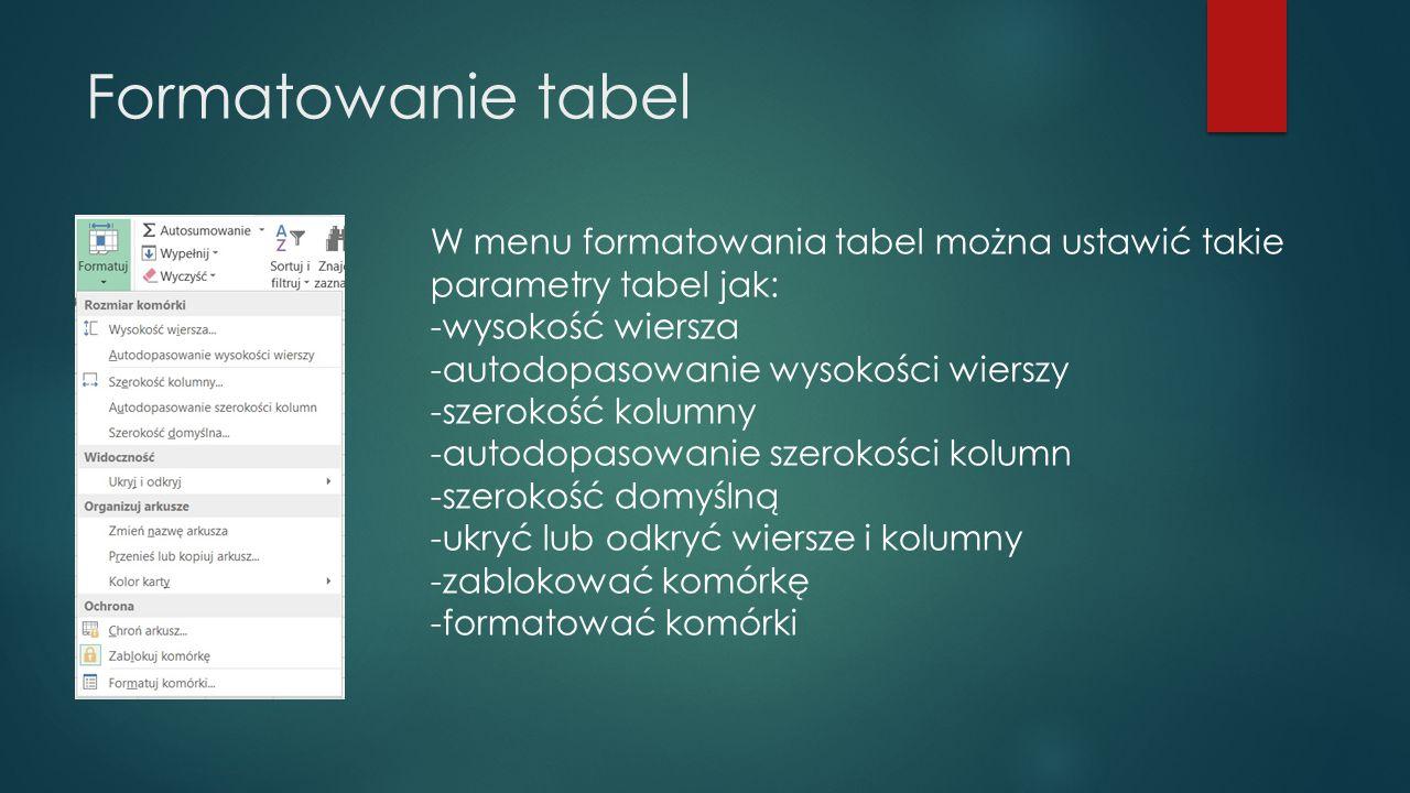 Formatowanie tabel W menu formatowania tabel można ustawić takie parametry tabel jak: -wysokość wiersza -autodopasowanie wysokości wierszy -szerokość