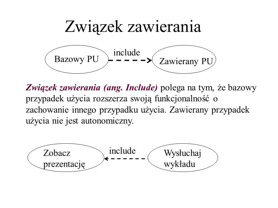Związek zawierania Bazowy PU Zawierany PU include Zobacz prezentację Wysłuchaj wykładu include Związek zawierania (ang. Include) polega na tym, że baz