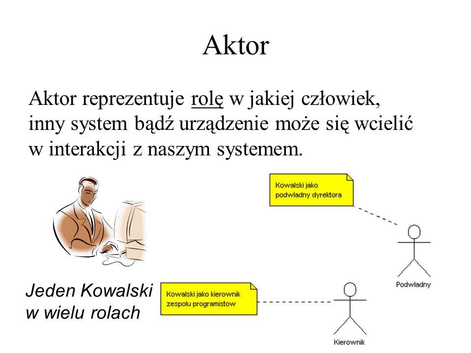 Aktor Aktor reprezentuje rolę w jakiej człowiek, inny system bądź urządzenie może się wcielić w interakcji z naszym systemem. Jeden Kowalski w wielu r