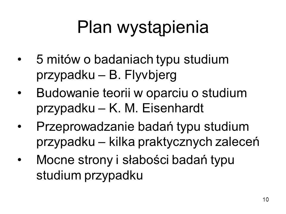 10 Plan wystąpienia 5 mitów o badaniach typu studium przypadku – B.