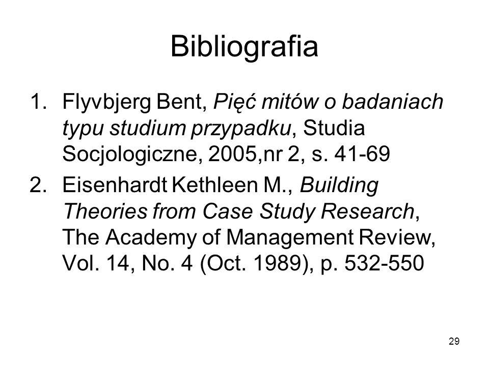 29 Bibliografia 1.Flyvbjerg Bent, Pięć mitów o badaniach typu studium przypadku, Studia Socjologiczne, 2005,nr 2, s.