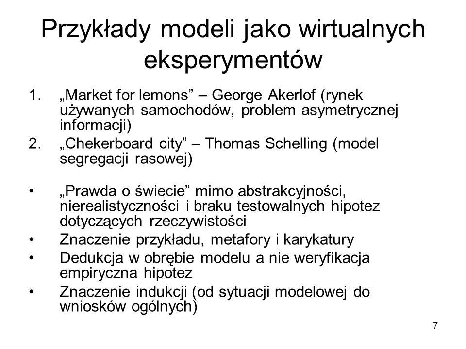"""7 Przykłady modeli jako wirtualnych eksperymentów 1.""""Market for lemons – George Akerlof (rynek używanych samochodów, problem asymetrycznej informacji) 2.""""Chekerboard city – Thomas Schelling (model segregacji rasowej) """"Prawda o świecie mimo abstrakcyjności, nierealistyczności i braku testowalnych hipotez dotyczących rzeczywistości Znaczenie przykładu, metafory i karykatury Dedukcja w obrębie modelu a nie weryfikacja empiryczna hipotez Znaczenie indukcji (od sytuacji modelowej do wniosków ogólnych)"""