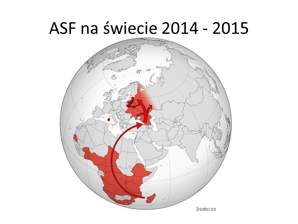 Rosja występowanie ASF (OIE, Rossielchoznadzor, 12.II.2014) 2007-2015 726 ognisk i przypadków