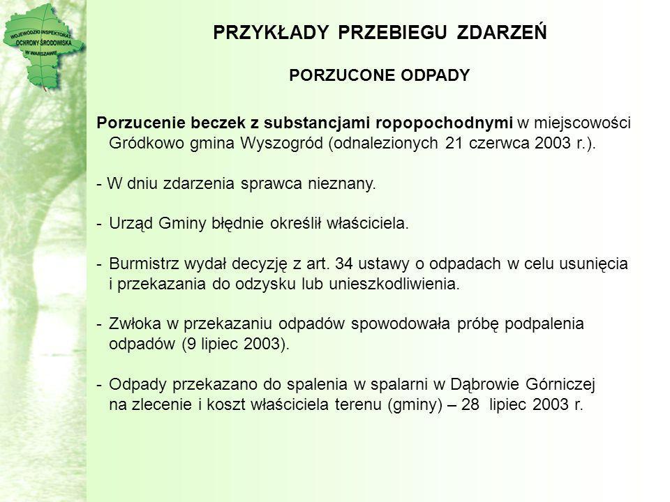 PRZYKŁADY PRZEBIEGU ZDARZEŃ PORZUCONE ODPADY Porzucenie beczek z substancjami ropopochodnymi w miejscowości Gródkowo gmina Wyszogród (odnalezionych 21