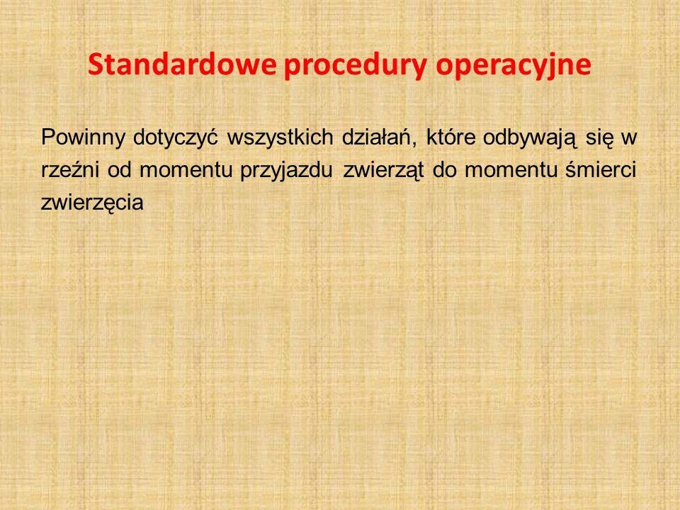Standardowe procedury operacyjne Powinny dotyczyć wszystkich działań, które odbywają się w rzeźni od momentu przyjazdu zwierząt do momentu śmierci zwi