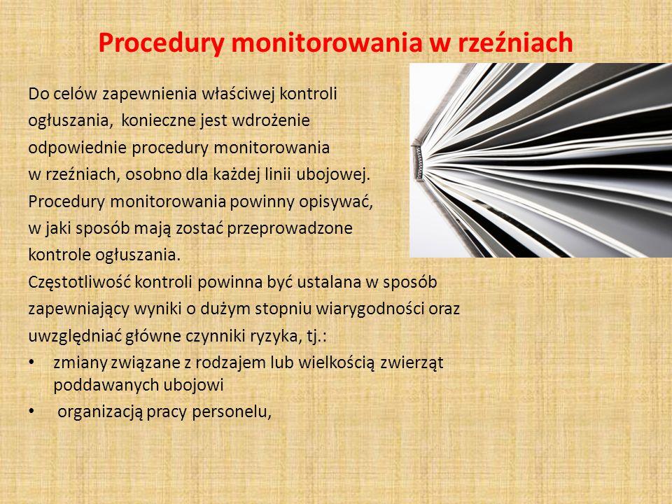 Procedury monitorowania w rzeźniach Do celów zapewnienia właściwej kontroli ogłuszania, konieczne jest wdrożenie odpowiednie procedury monitorowania w