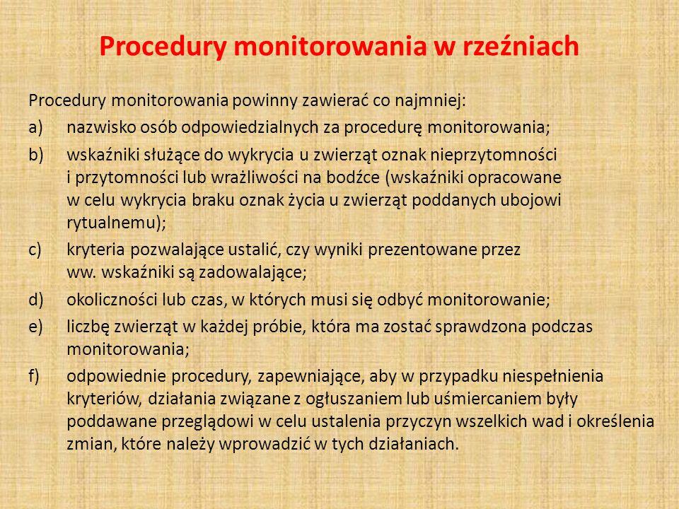 Procedury monitorowania w rzeźniach Procedury monitorowania powinny zawierać co najmniej: a)nazwisko osób odpowiedzialnych za procedurę monitorowania;