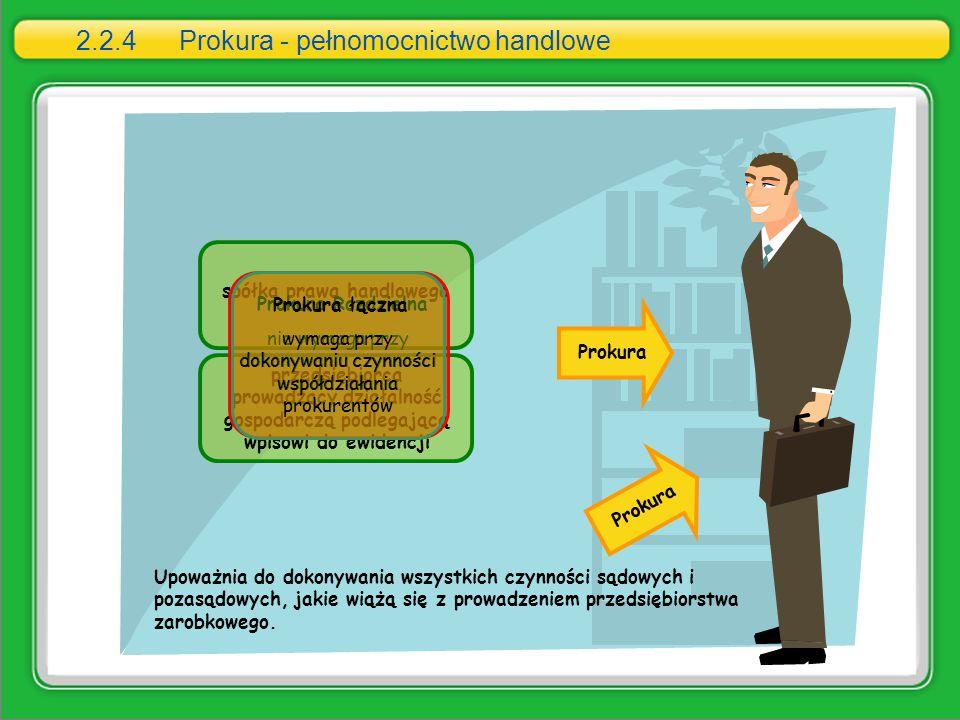 spółka prawa handlowego przedsiębiorca prowadzący działalność gospodarczą podlegającą wpisowi do ewidencji Prokura 2.2.4 Prokura - pełnomocnictwo hand